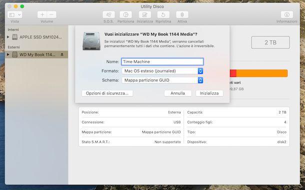 Formattazione hard disk con Utility Disco