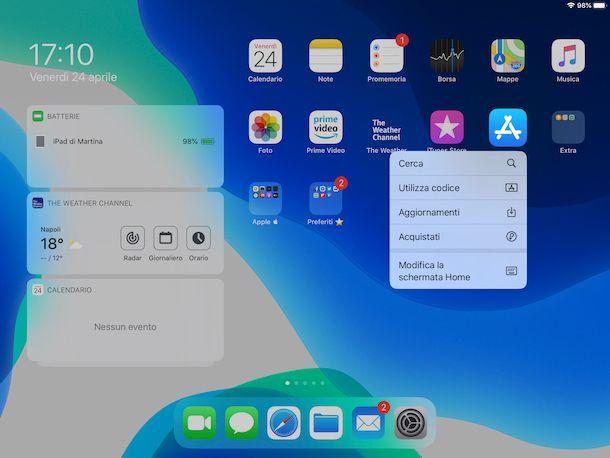 Organizzare schermata Home iPad