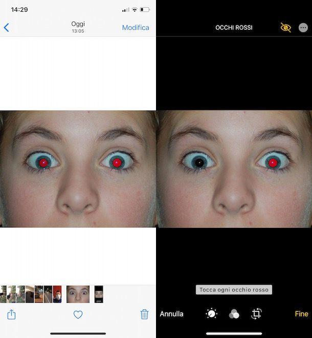Rimuovere occhi rossi iPhone