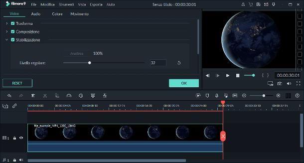 Come stabilizzare un video con Filmora