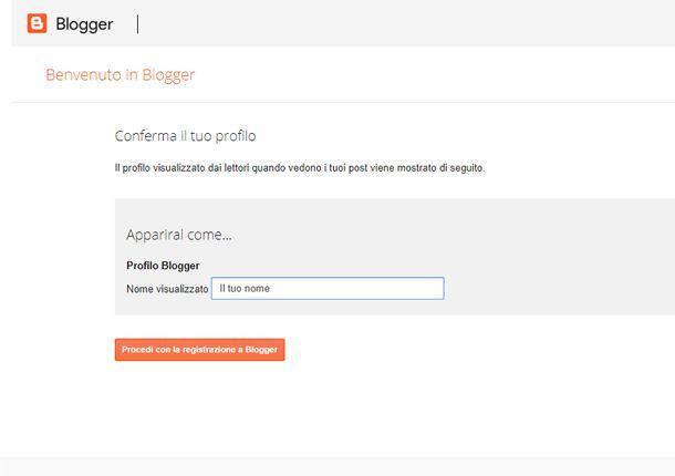 Inserisci il tuo nome da Blogger