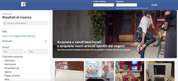 Accedere a Facebook Marketplace senza account