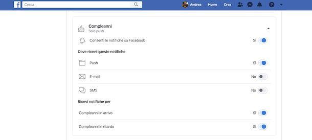 Notifiche compleanni Facebook da computer
