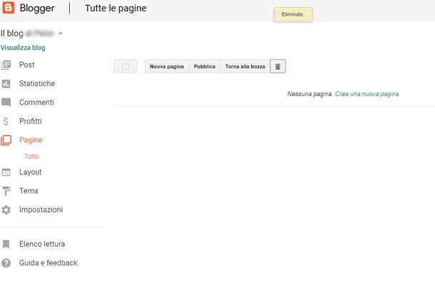 Con Blogger puoi creare anche delle pagine