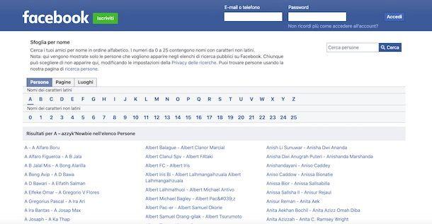Cercare una persona su Facebook