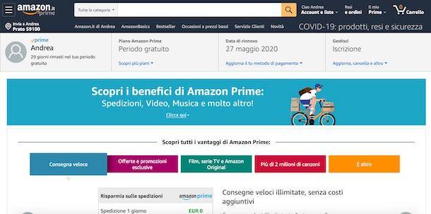 Come vedere scadenza Amazon Prime