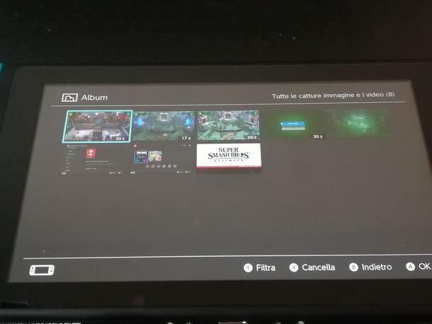 Navigare nella galleria di Nintendo Switch