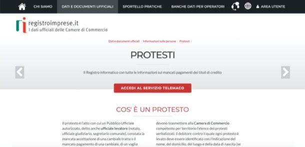 Registro protesti Camera di Commercio