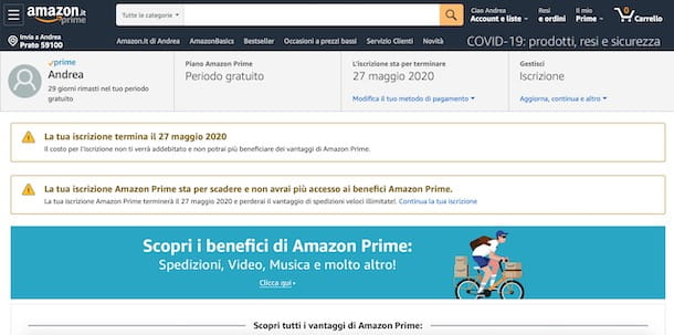 Data scadenza Amazon Prime