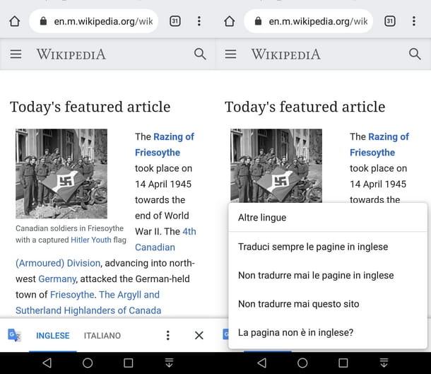 Usare Chrome Mobile per tradurre siti