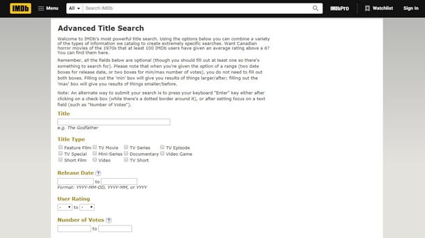 Ricorrere allo strumento di ricerca avanzata di IMDb