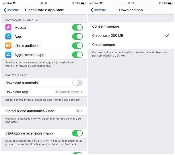Come aggiornare app iPhone senza WiFi