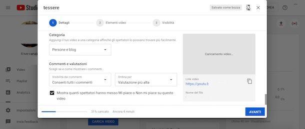 Attivare commenti YouTube in fase di caricamento