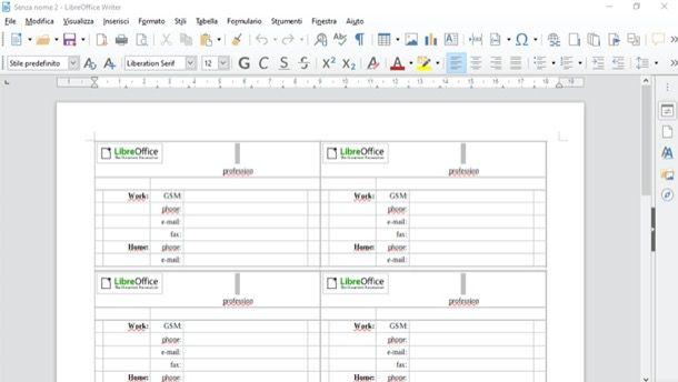 Biglietti LibreOffice Draw