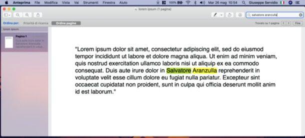 cercare una parola in un PDF
