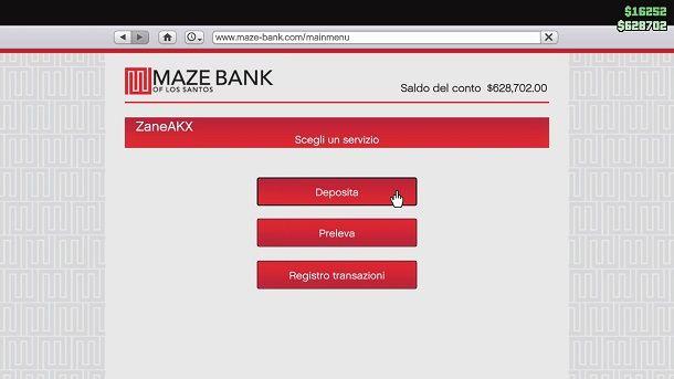 Come depositare i soldi in banca su GTA Online