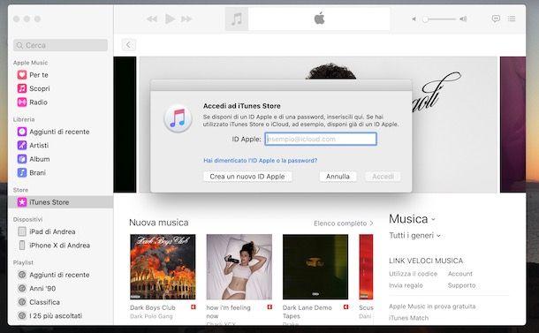 Cambiare ID Apple Mac su iTunes Store