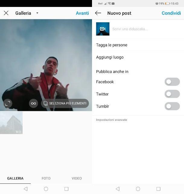 Condividere video Youtube su post Instagram