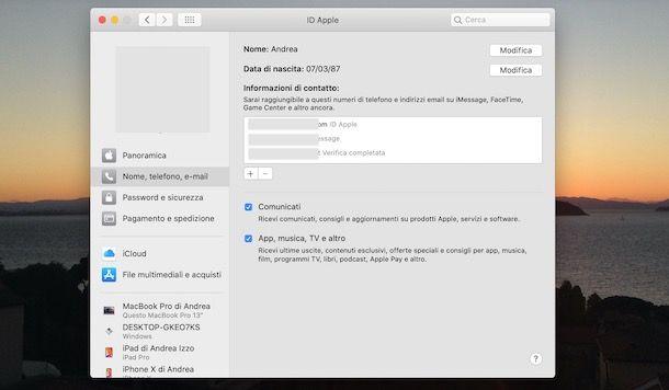 Come cambiare dati ID Apple su Mac