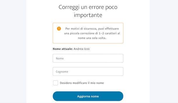Come modificare nome PayPal