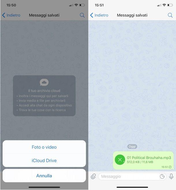Caricare musica su Telegram