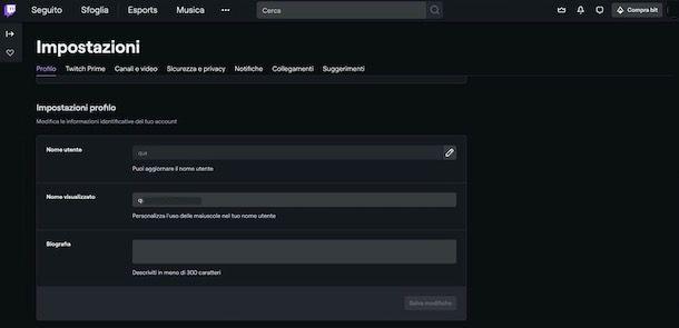 Come cambiare nome su Twitch da PC