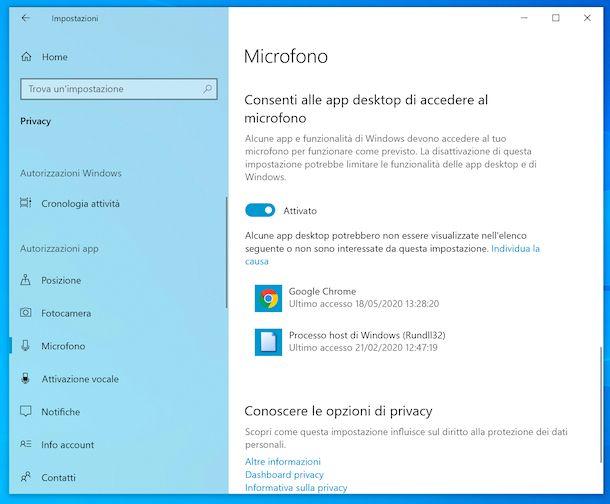Impostazioni microfono Windows 10