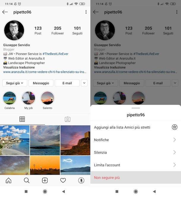 Smettere di seguire una persona su Instagram Android