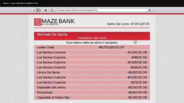 Conto Maze Bank Michael De Santa GTA 5