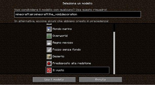Creare mondo vuoto su Minecraft Java Edition