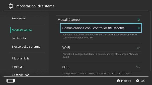 Come attivare il Bluetooth su Switch in modalità aereo