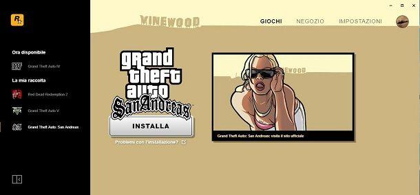 GTA San Andreas su Rockstar Games Launcher