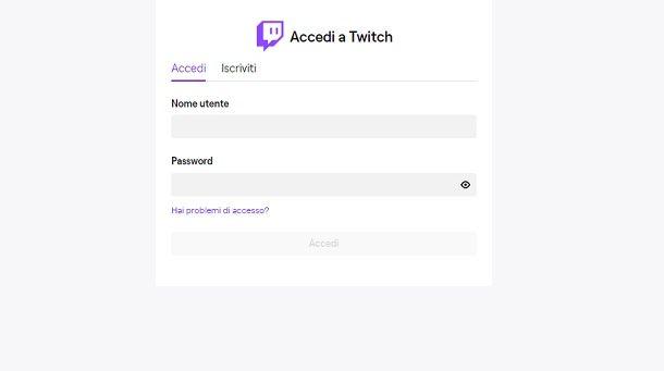 Accedi a Twitch