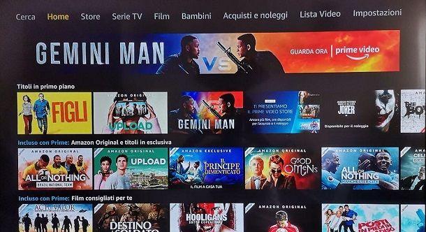 Schermata principale Amazon Prime Video PS4