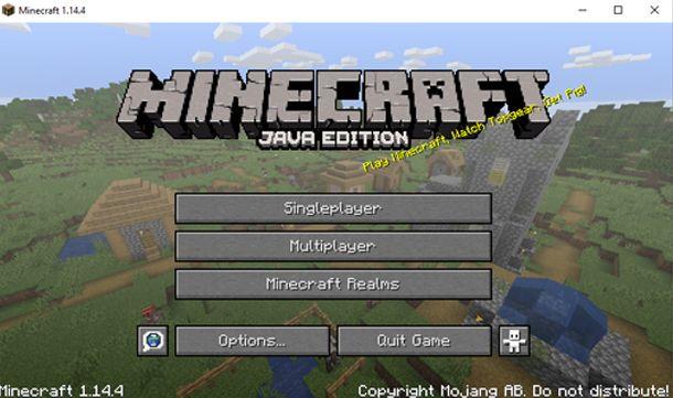 Minecraft appena avviato