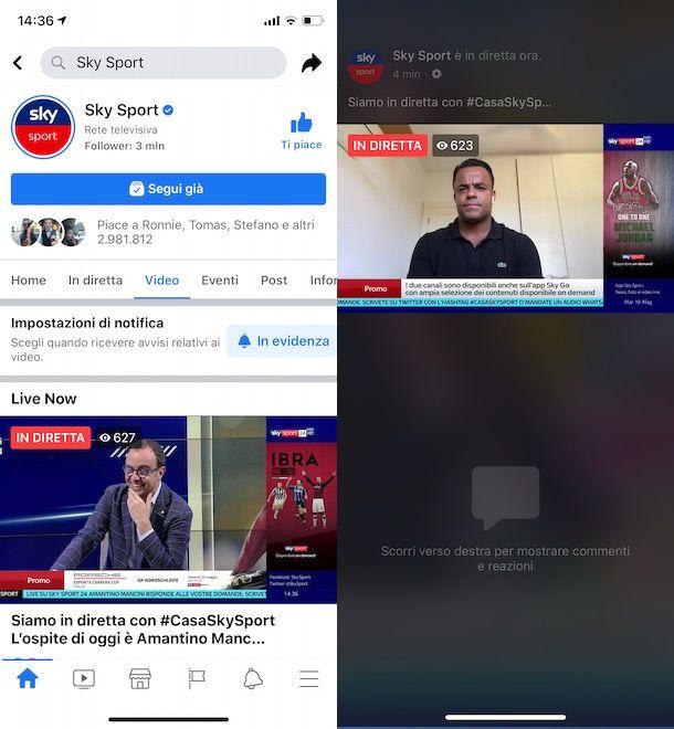 Diretta pagina Facebook