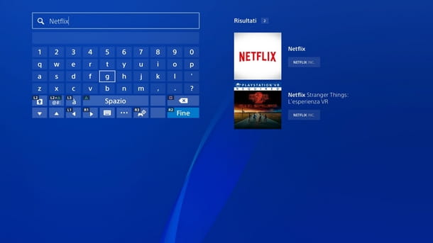 Ricerca l'app di Netflix su PS Store