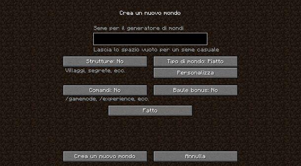 Creare mondo piatto su Minecraft Java Edition