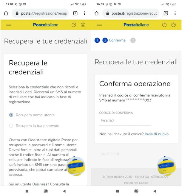 Recuperare credenziali account PosteItaliane