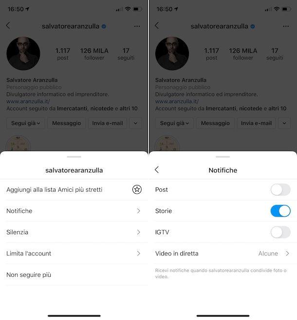 Impostazioni notifiche storie Instagram