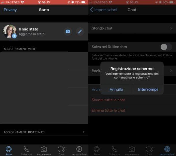 Registrazione video whatsApp