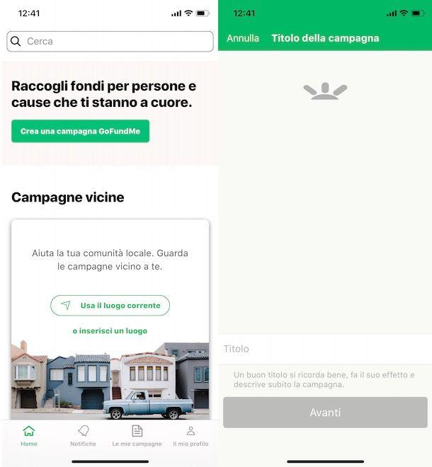 Creare una campagna GoFundMe da app