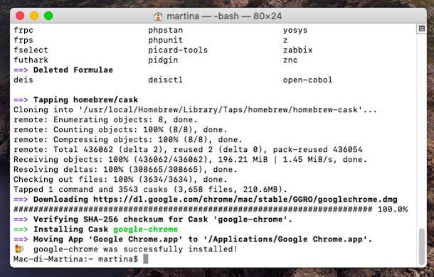Installazione di Chrome da Terminale su macOS