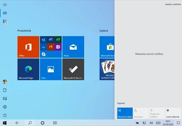 Attivare modalità tablet Windows 10