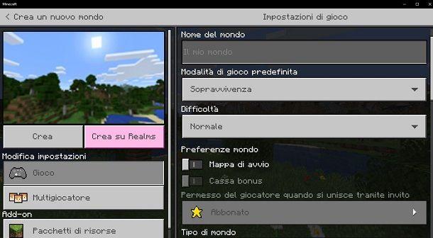 Creare nuovo mondo su Minecraft Bedrock Edition