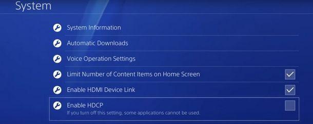 Abilitare l'HDCP su PS4