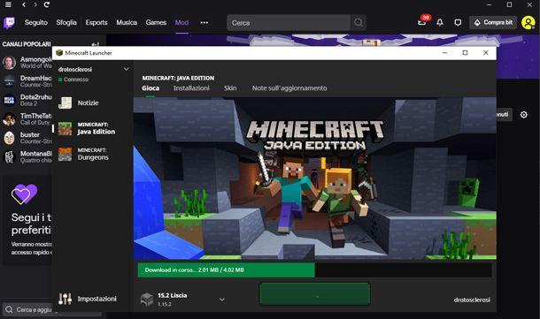 Avvia Minecraft da Twitch