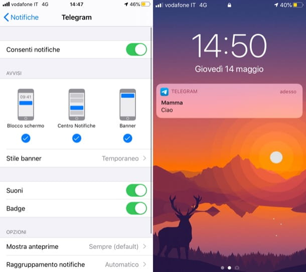Notifiche Telegram nella losco-screen iOS