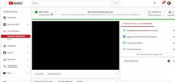 Trasmetti in streaming su YouTube