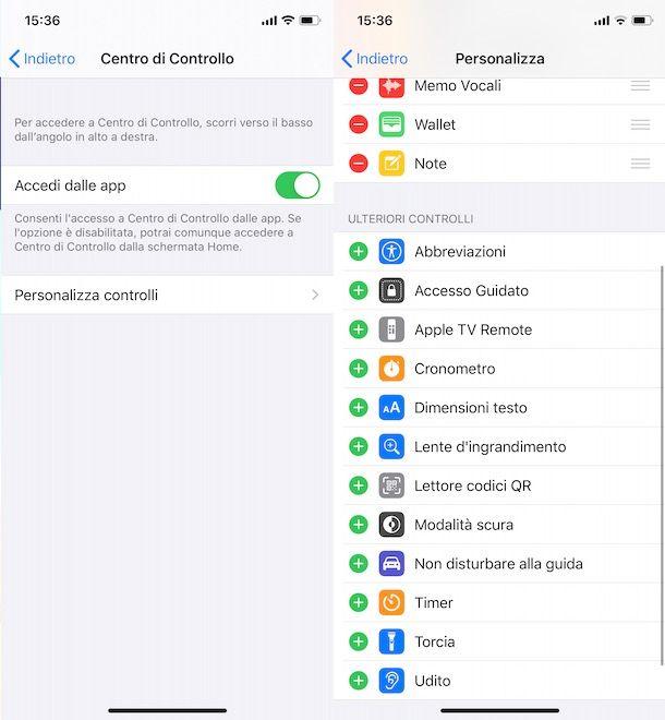Come aggiungere Torcia nel Centro di Controllo di iOS
